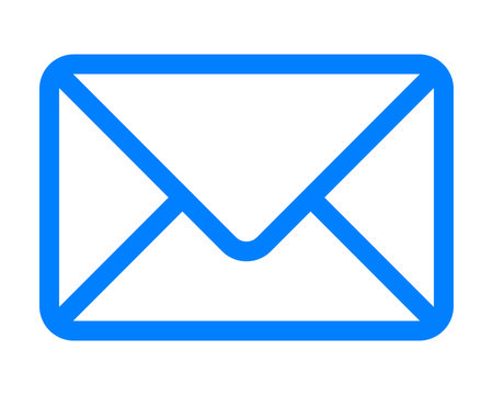 Mail symbol icon - blue simple outline with rounded corners, isolated - vector