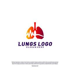 Medical Lungs logo design concept.Health Lungs logo template vector. Lungs Pulse Icon symbol