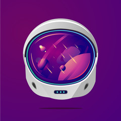 Canvas Prints Violet Space helmet on isolated background. Pilot mask vector clip art. Astronaut spacesuit with space on reflection.