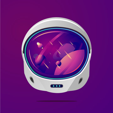 Space helmet on isolated background. Pilot mask vector clip art. Astronaut spacesuit with space on reflection.