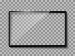 Realistic TV screen. Empty TV frame transparent background. Modern stylish lcd monitor, led type. Blank television template – stock vector