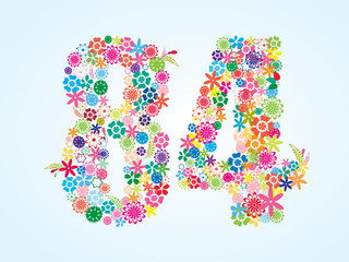 Vector Colorful Floral 84 Number Design isolated on white background. Floral Number Eighty Four Vector Typeface.