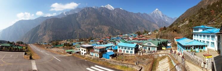 Lukla village and Lukla airport, Khumbu valley, Nepal