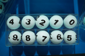 white balls for the game of lottery.