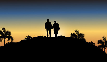 silhouette of man and woman at sunset
