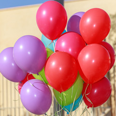 Closeup of a group multicolored balloons