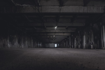 Foto op Plexiglas Oude verlaten gebouwen scary night underground parking. tunnel at night