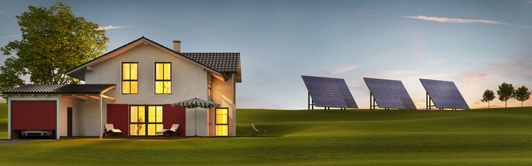 Evening view of a modern house with solar panels