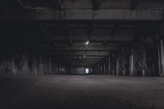 scary night underground parking. tunnel at night