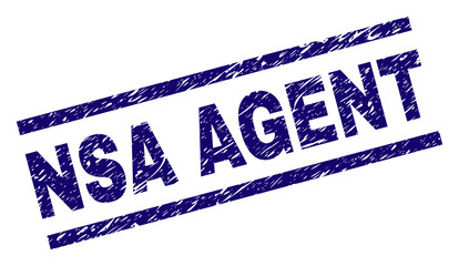 NSA AGENT seal print with distress style. Blue vector rubber print of NSA AGENT title with dust texture. Text title is placed between parallel lines.