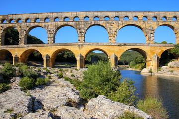 Aqueduct Pont du Gard and Gardon River in southern France