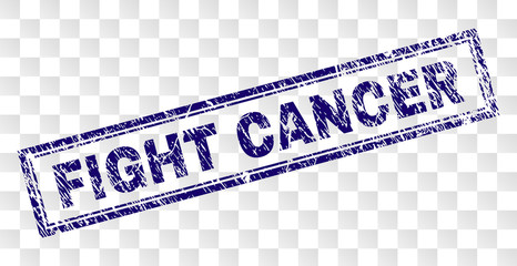 FIGHT CANCER stamp seal watermark with rubber print style and double framed rectangle shape. Stamp is placed on a transparent background.