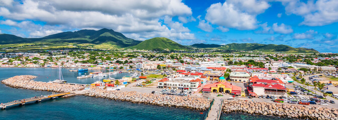 Wall Mural - Saint Kitts and Nevis, Caribbean.  Panoramic view of port Zante, Basseterre.