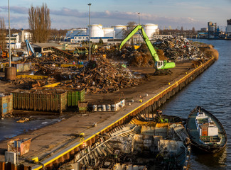 Industrial areas, harbor, factory processing scrap, port, power plant