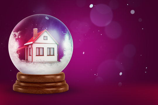 3d rendering of a house model inside of a snow globe on festive background.