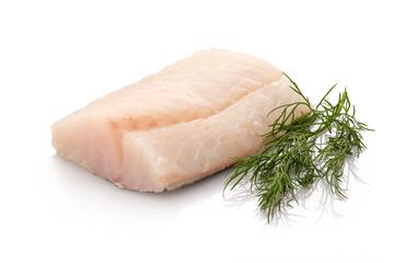 Skrei Kabeljau Fisch roh mit Dill