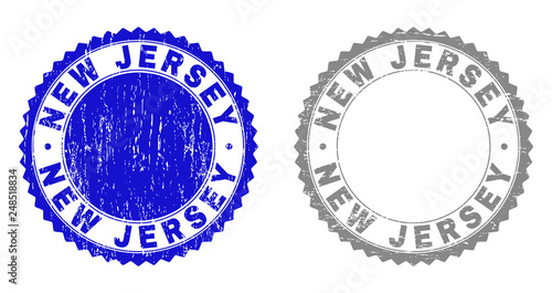 Grunge NEW JERSEY stamp seals isolated on a white background