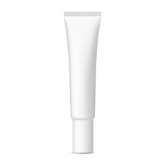 Small plastic cosmetic tube mockup isolated on white background. Vector illustration