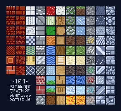 Pixel art style set of different 16x16 seamless texture pattern sprites - stone, wood, brick, dirt, metal - 8 bit game design background tiles