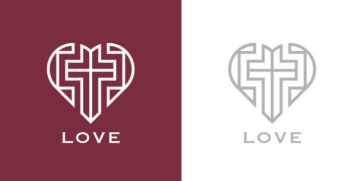Abstract religious cross and heart icon. Christian love logo. Vector illustration.