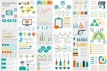 Medical infographic elements data visualization vector design template. Can be used for steps, options, workflow, diagram, flowchart concept, timeline, healthcare icons, research, info graphics.