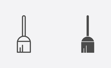 Broom outline and filled vector icon sign symbol