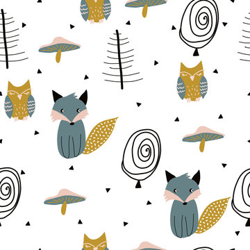 Scandinavian woodland seamless pattern with cute fox, owl and other forest elements. Vector illustration.