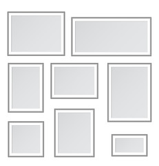 Illustration of a set of paintings on a white background. In flat style