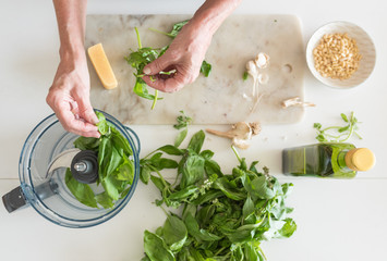 Woman's hand preparing basil leaves to make pesto with ingredients on table from above (selective focus)