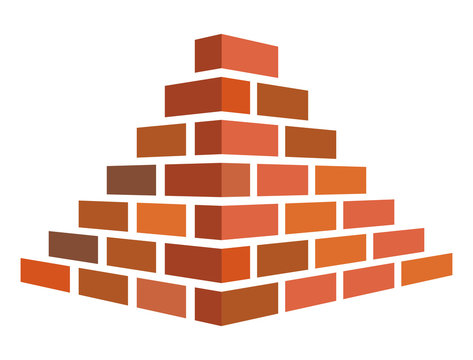 Illustration of bricks for construction on a white background. In flat style
