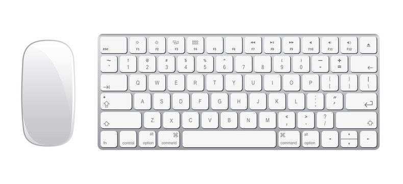 Keyboard and mouse in a realistic style. Vector illustration