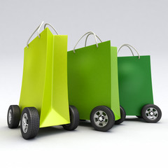 Green shopping bags on wheels