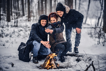 Happy company students doing selfie near the campfire in the winter forest