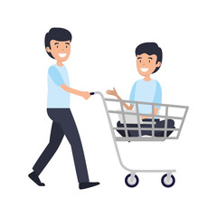 businessmen with shopping cart