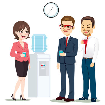 Business people at break time drinking water and coffee talking together standing near water dispenser machine