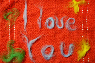 """I love you"" craft picture made of felted wool"
