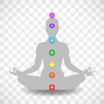 Human body in yoga lotus asana and seven chakras symbols isolated on transparent background
