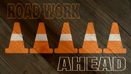 road work sign on wood grain texture