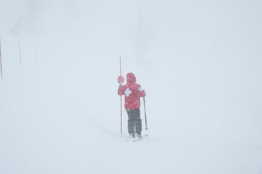 Snowstorm - ski patrol - closing ski trails - caution