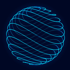 Sphere with twist lines. Background for business event. Wireframe technology blue sphere. 3d rendering.