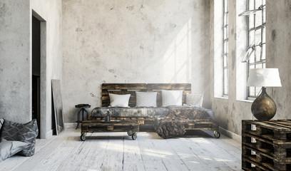 Minimalistisches Wohnzimmer/Loft mit Palettenmöbel