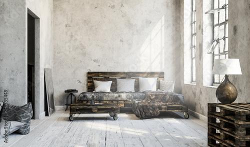 Minimalistisches Wohnzimmer Loft Mit Palettenmobel