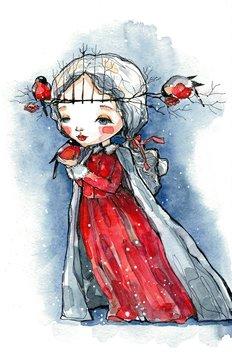 girl and snowbird