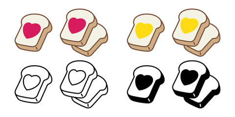 bread vector heart jam valentine food bakery bake cartoon character illustration