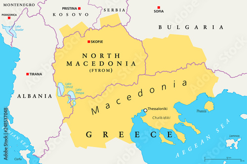 Macedonia region, political map. Region of the Balkan Peninsula in ...