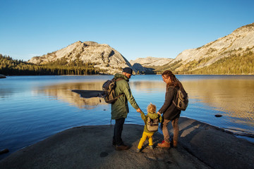 Happy family visit Yosemite national park in California