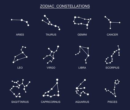 Zodiac constellation set. Vector illustration