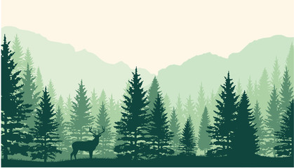 Forest landscape background. Vertor Wall mural