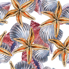 Seamless pattern with seashells, corals and starfishes. Marine background. Illustration in watercollor style. Perfect for greetings, invitations, wrapping paper, textile, wedding and web design.