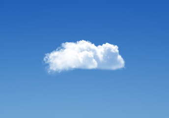 Single cloud in the deep blue gradient sky, natural background